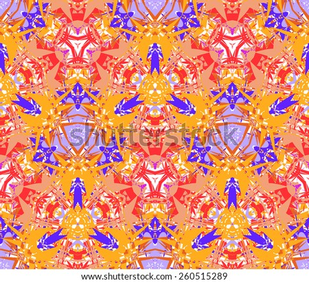Seamless pattern composed of bright color abstract elements located on a white background. Useful as design element for texture, pattern and artistic compositions. Vector illustration. - stock vector