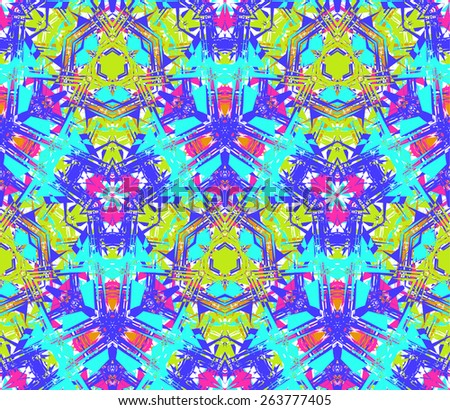Seamless pattern composed of bright color abstract elements located on white background. Useful as design element for texture, pattern and artistic compositions. Vector illustration. - stock vector