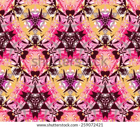 Seamless pattern composed of color abstract elements located on a white background. Useful as design element for texture, pattern and artistic compositions. Vector illustration. - stock vector