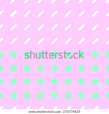 Seamless pattern consisting of a circle and a rectangle with rounded corners on a light pink background with white and pale green - stock vector