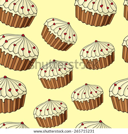 Seamless pattern consisting of a few sweet cakes.