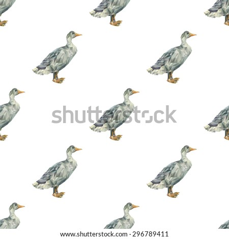 Seamless pattern consisting of a goose made of polygons triangles of different sizes in gray and yellow on a white background - stock vector