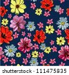 seamless pattern, cosmos ,flowers pattern,plumeria,tropical flowers,beach - stock vector