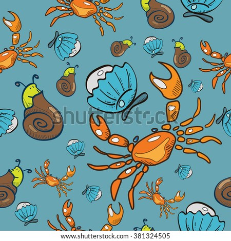 Seamless pattern. Crab. Shell. Shellfish. Pearl. Vector illustration.