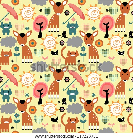 Seamless pattern, cute animals, random elements - stock vector