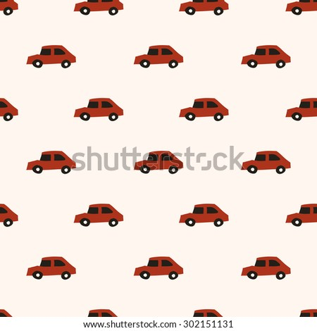 seamless pattern, cute car vector background design for fabric and decor