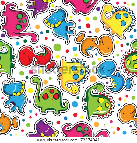 Seamless pattern - Cute dinosaurs - stock vector