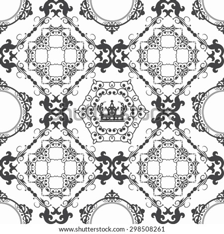Seamless pattern. Damask. Retro wallpaper background. Elegant pattern for Your design. Classic style. Black and white. Vector illustration - stock vector