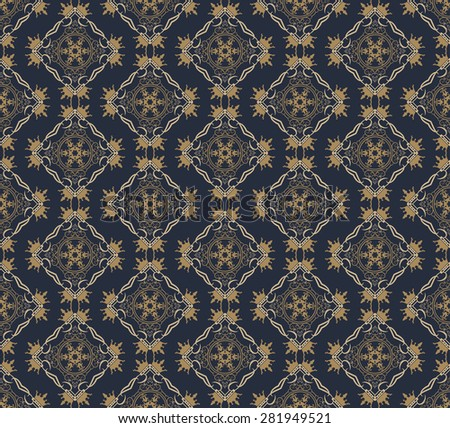 Seamless pattern damask wallpaper background in retro style for your design vector illustration - stock vector