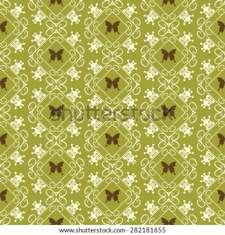 Seamless pattern damask wallpaper background in retro style for your design vector illustration