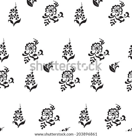 seamless pattern decorative flowers cornflower black white