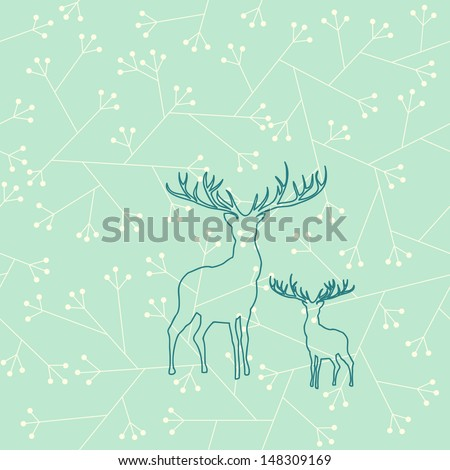Seamless pattern, deer in the woods, floral