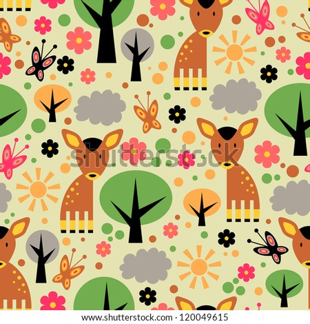 Seamless pattern design. Cute forest - stock vector