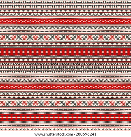 Seamless pattern design inspired by Romanian traditional embroidery - stock vector