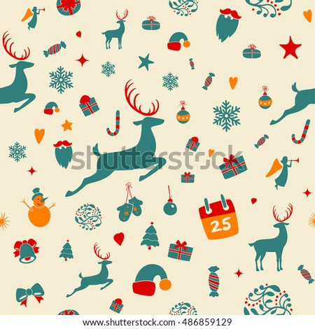 Seamless pattern design. Merry Christmas card decoration. Happy New Year design elements. Vintage ornament of red yellow deer, bell, snowflake, ribbon, bow, Christmas tree, snowman. Vector icons set.