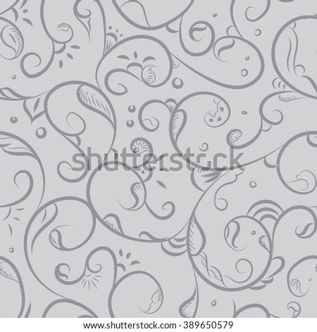 Seamless pattern design with detailed Iznik style floral motifs drawn freehand on digital tablet, elegant flourishes repeating surface pattern for web and print use.