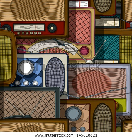 Seamless pattern design with vintage radio - stock vector