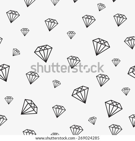 seamless pattern diamond crystals - stock vector