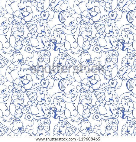 Seamless Pattern doodles of people talking on the phone - stock vector