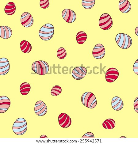 Seamless pattern easter egg. Striped eggs on a yellow background