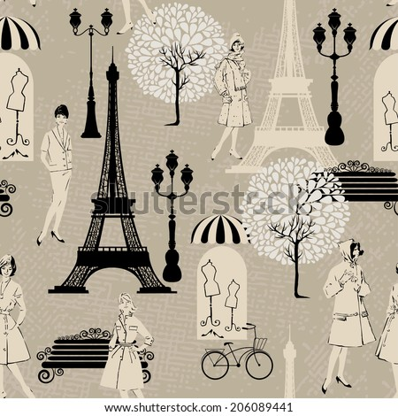 Seamless pattern - Effel Tower, street lights, old fashioned girls  - Background for fashion or retail design in vintage style.