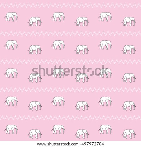 Seamless Pattern Elephant Kids Baby Girl On Pink Background Wallpaper White