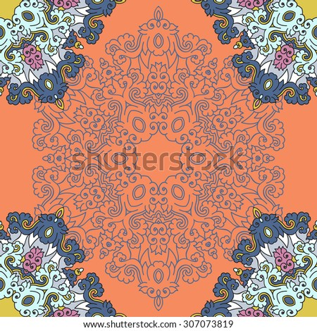Seamless pattern ethnic style. Vintage decorative texture. Indian, arabic motive.