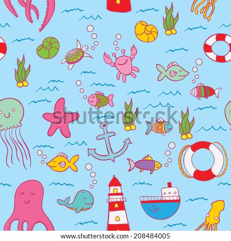 Seamless pattern, fishes and underwater motive. Summer and holidays mood. For advertising design, corporate Identity, postcards, web design, etc. Vector graphic, EPS 10 format.