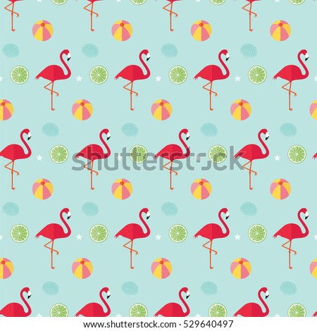 Seamless Pattern Flamingo Beach Ball Lime Stock Vector 2018 Star