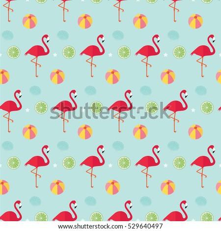 Seamless Pattern Flamingo Beach Ball Lime Stock Vector 2018 Star