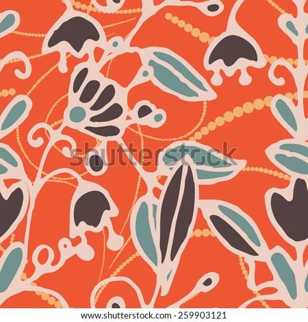 Seamless pattern -  flower background in doodle style. Vector illustration.  - stock vector