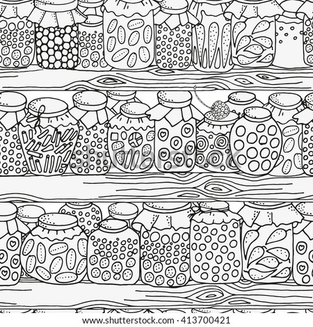 Seamless pattern for coloring book. Set of glass jars with jam and other on wooden shelves. Pantry. Canning.  Hand-drawn decorative elements in vector. Black and white.  Zentangle. - stock vector