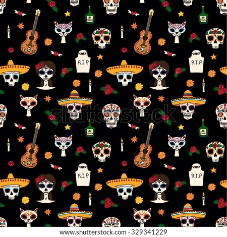 Seamless pattern for Dia de los muertos and Halloween.vector eps10. - stock vector