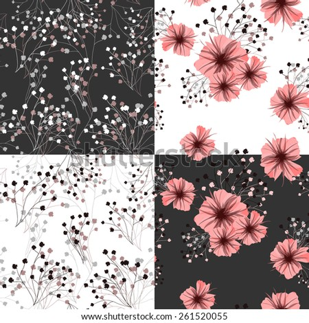 Seamless pattern for floral design. Petunia flower. Vector illustration. - stock vector