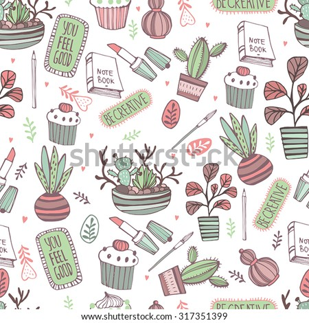 Seamless pattern for girls, with plante, cupcake, books... - stock vector