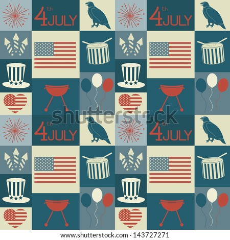 Seamless pattern for Independence Day. - stock vector