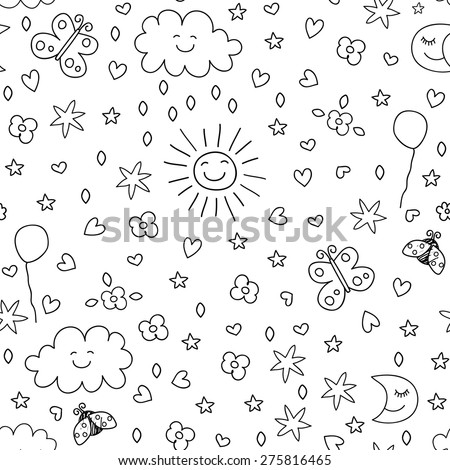 seamless pattern for kids  - stock vector