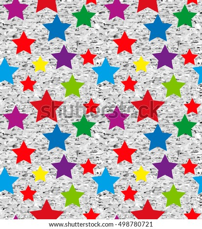 Seamless pattern for textiles, fabrics, wall-coverings. Seamless pattern of stars for fabrics, wallpaper, interior. Multicolor stars on grunge background. Vector bg.