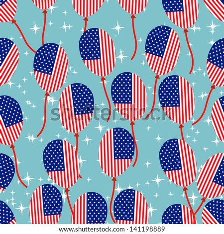 Seamless pattern for 4th of July, American Independence Day.