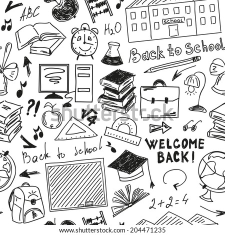 Seamless pattern freehand drawing of school supplies on white background - stock vector