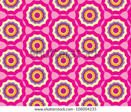 seamless pattern from abstract geometric ornament, crimson background - stock vector