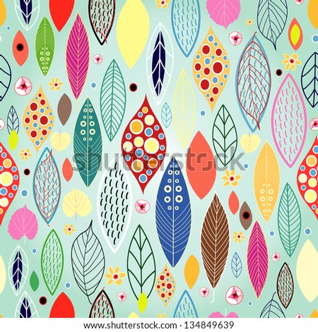 Seamless pattern from autumn leaves on the decorative light green background - stock vector