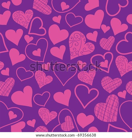 seamless pattern from different hearts. valentine background - stock vector