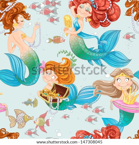 Seamless pattern from mermaid girls with treasures - stock vector