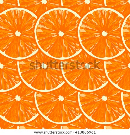 Seamless pattern from slice of ripe deliciousorange.  Can be used for wallpaper, decoration for bags and clothes. Hand drawn contour lines and strokes - stock vector