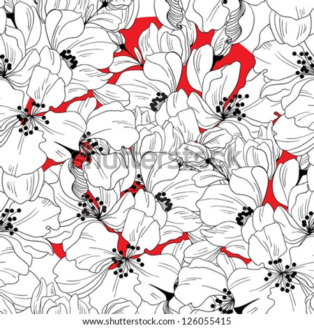 Seamless pattern from stylized flower cherry - stock vector