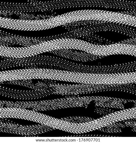 Seamless pattern from  traces of tires.(can be repeated and scaled in any size)  - stock vector