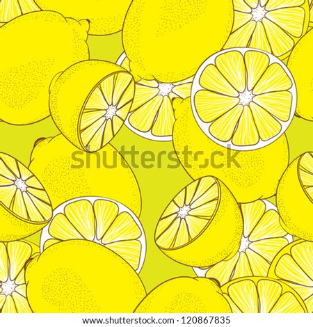 seamless pattern from yellow juicy lemons