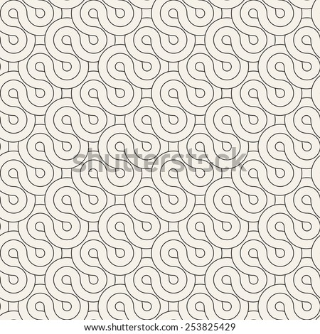 Seamless pattern. Geometric ornament. Stylish background with monochrome striped loopy tape. Vector repeating texture - stock vector