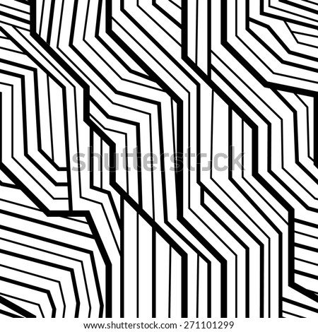 seamless pattern, geometric pattern, art deco with intertwined stripes, black and white - stock vector